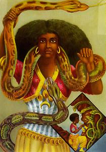 litho of a snake charmer
