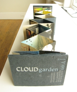 """Cloud Garden"" by Fleming Jeffries, a double accordion book."