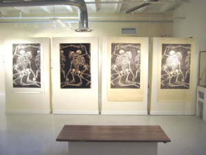 """The Exposure of Luxury"" - several prints along with the plate itself (second from Left) by Trudi Y. Ludwig"