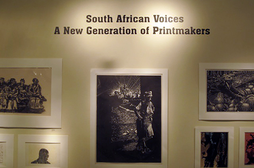 Another view of the South African Voices exhibition marquee and some prints included in the show.