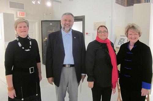 Anne Gordon, Executive Director of Vula Amehlo Art Development (far left), pictured with South African Ambassador to the United States Ebrahim Rasool (second from left); Ambassador Rasool's wife Roseida Shabodien (third from left); and WPG member artist Rosemary Cooley (far right).