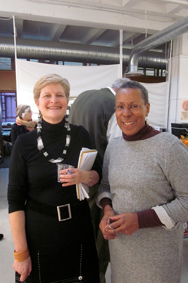 Vula Amehlo Executive Director Anne Gordon (left) with artist Cynthia Farrell Johnson.