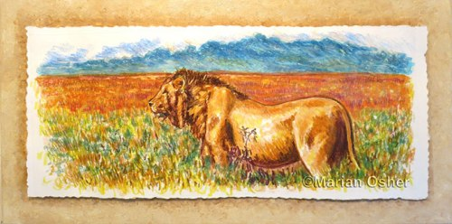 """Simba"", mixed-media monotype on painted canvas, Marian Osher ©2014, 12 x 24"