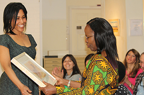 WPG Gallery Director Alysia Thaxton (left) with Ambassador Liberata Mulamula of Tanzania. Photo by Steve Raphael.