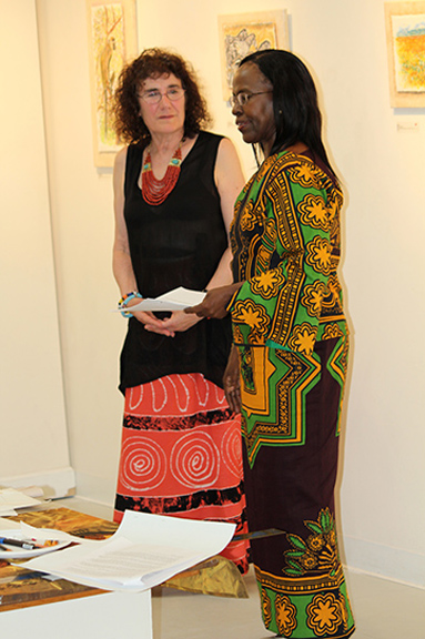 Marian Osher (left) talks with Ambassador Liberata Mulamula of Tanzania. Photo by Steve Raphael.