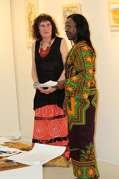 Marian Osher (left) talks with Ambassador Liberata Mulamula of Tanzania. Photo by Steve Raphael.